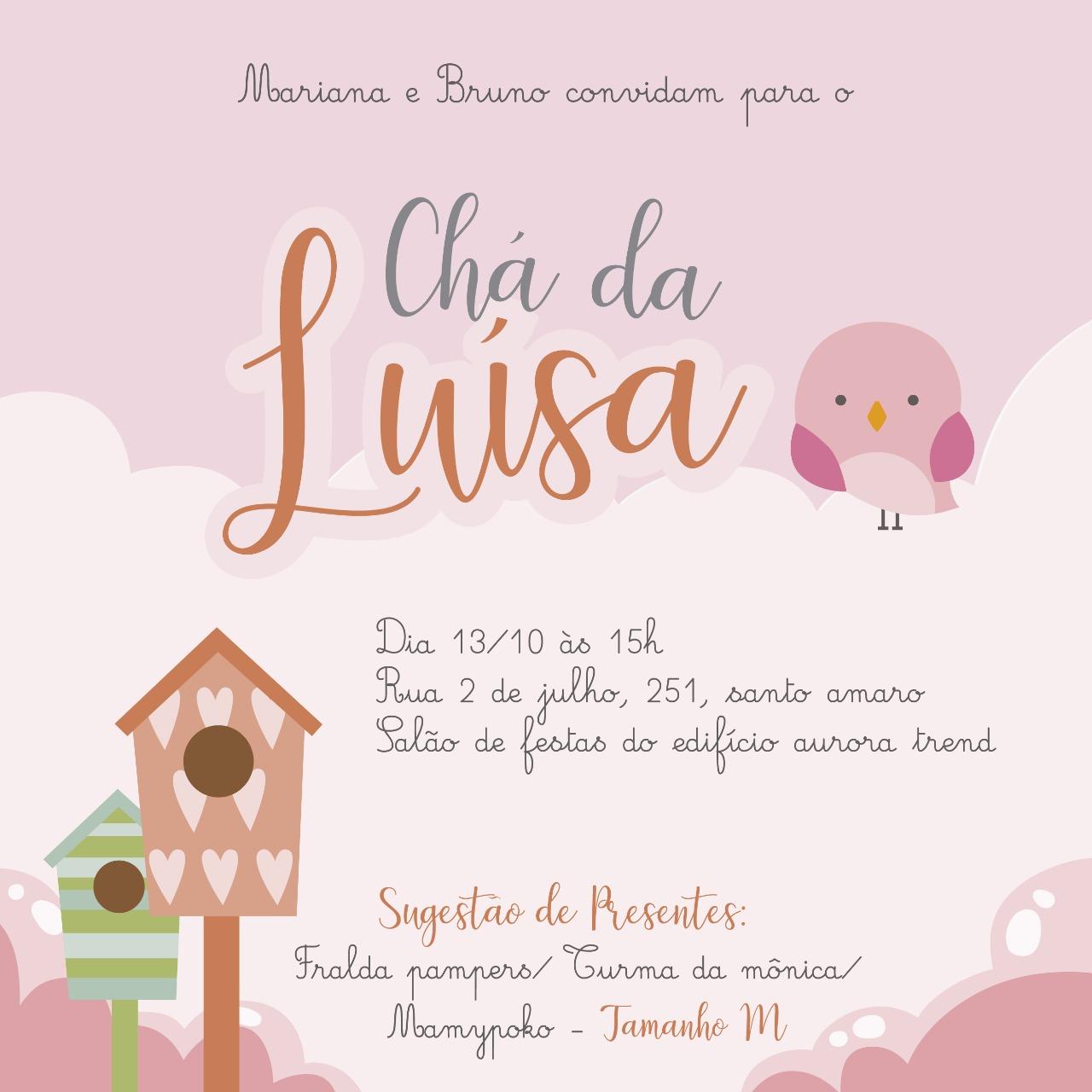 Convite Chá de Luísa -