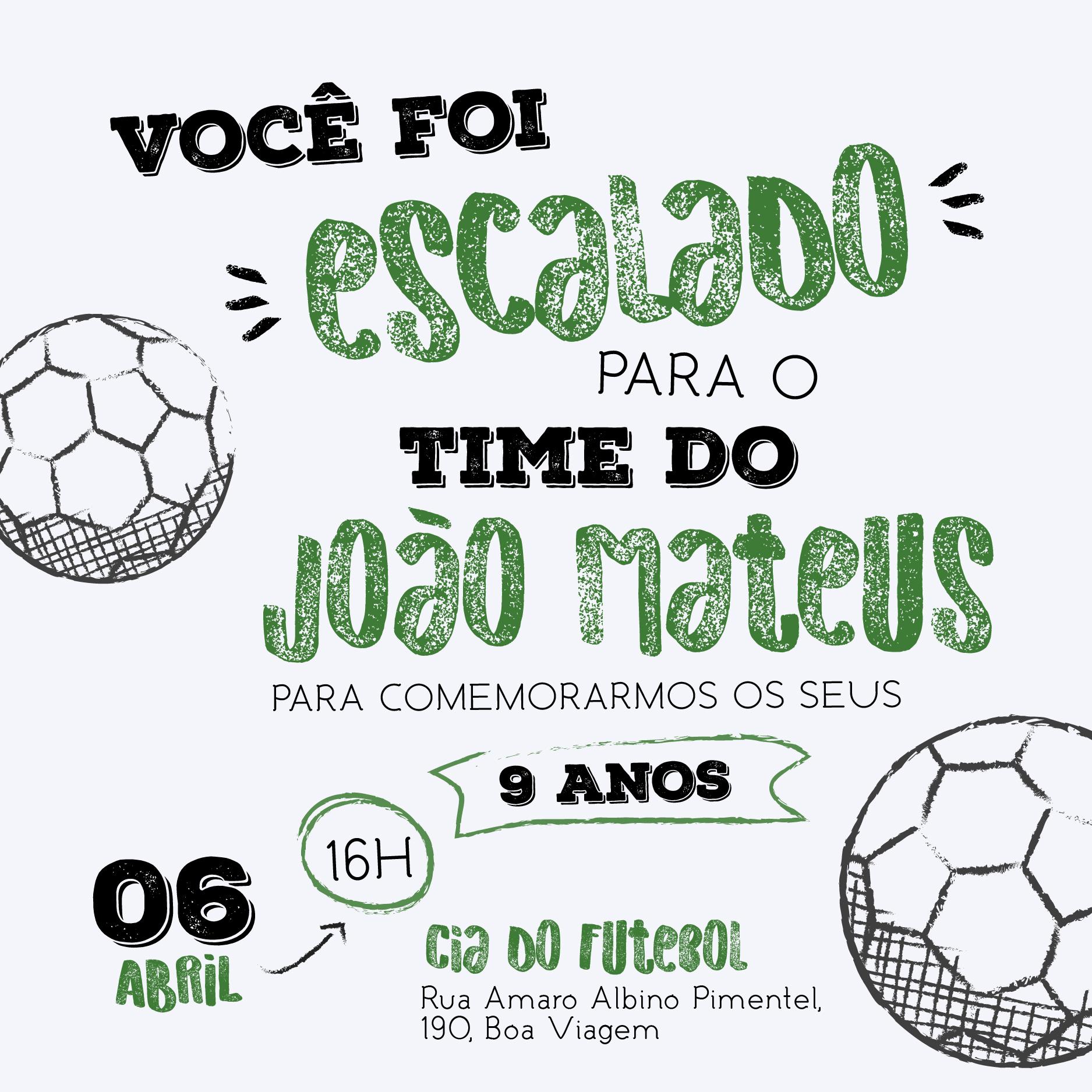 Convite Infantil Futebol -