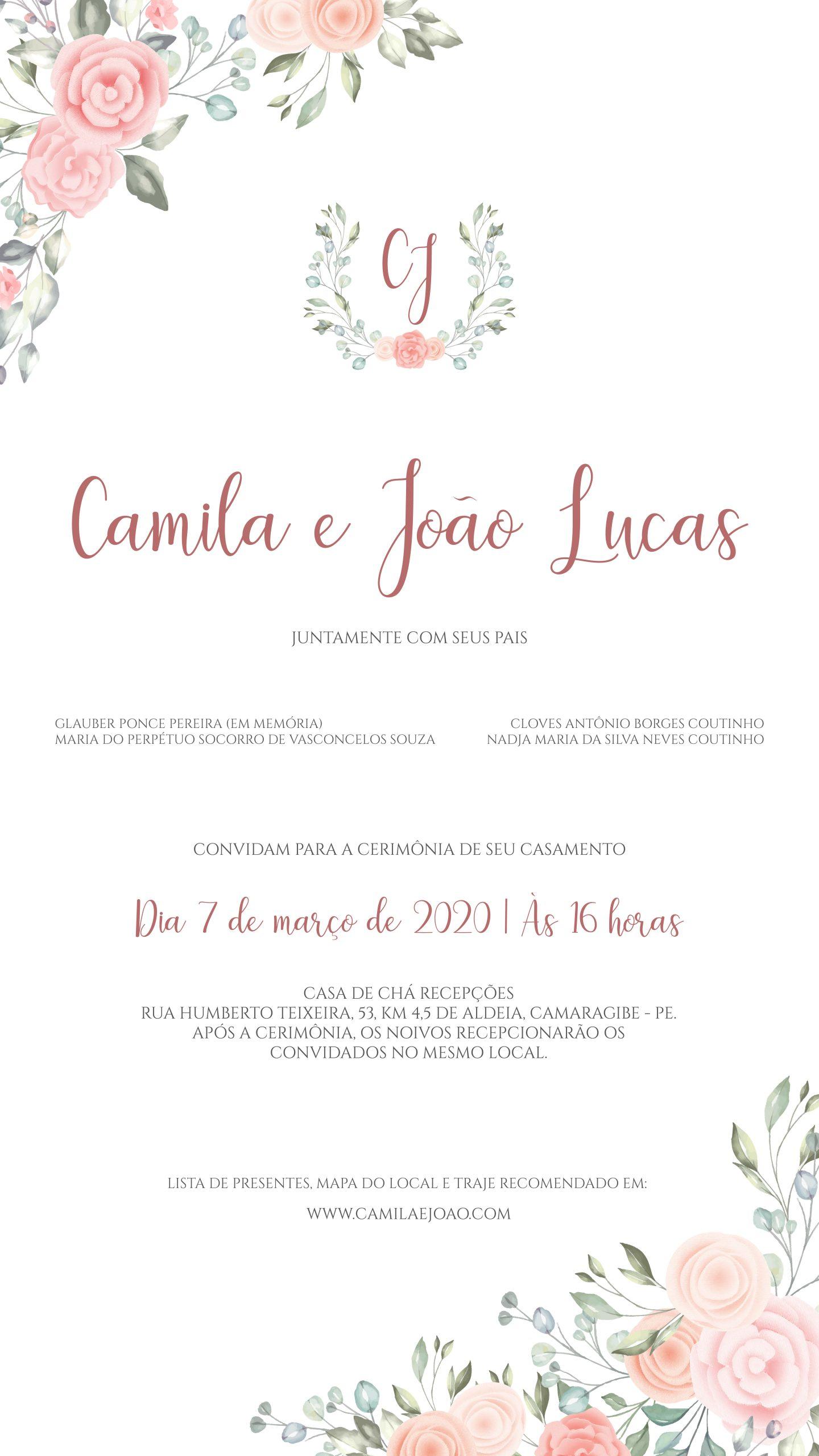 Convite Virtual Camila e João -