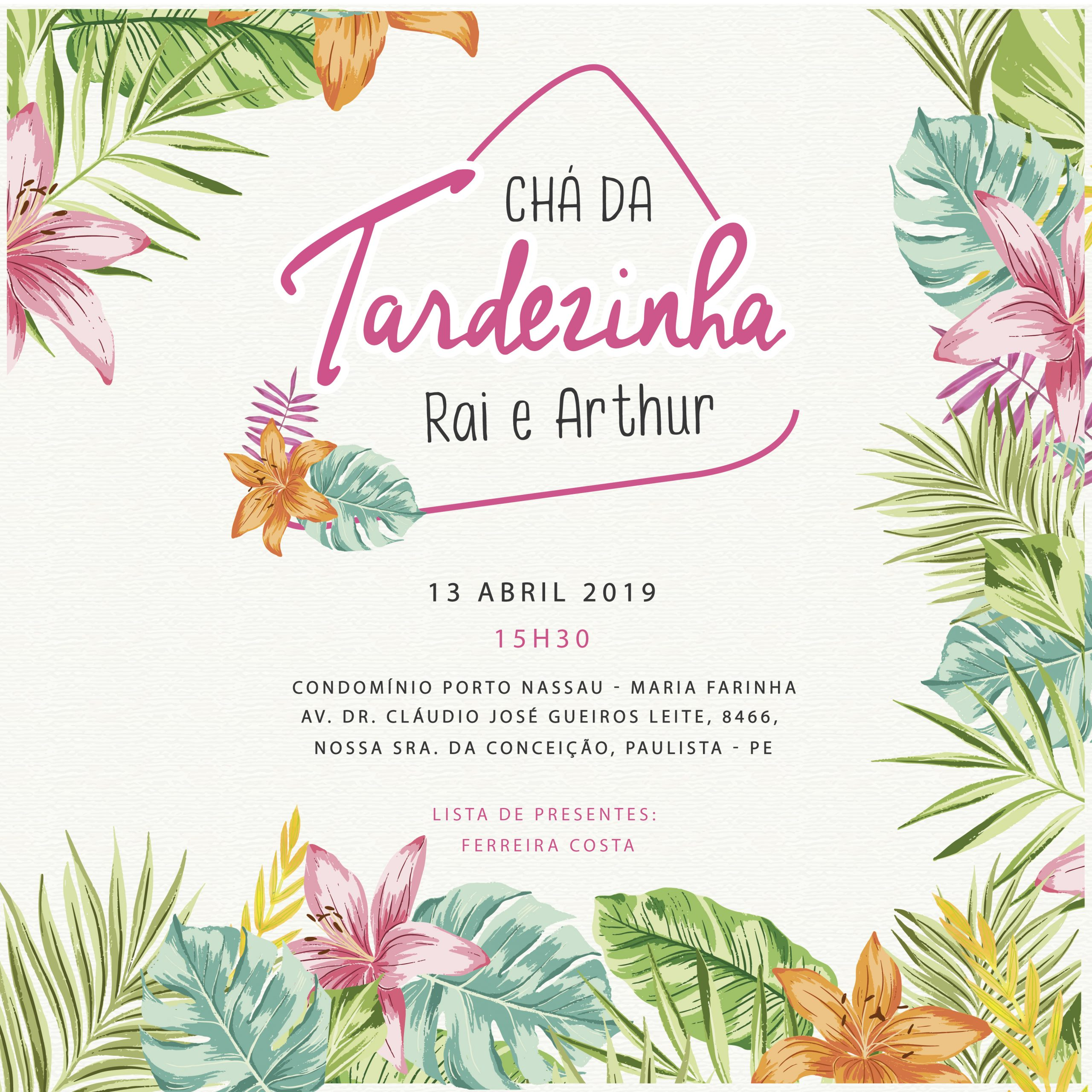 Convite Chá da Tardezinha Rai e Arthur -