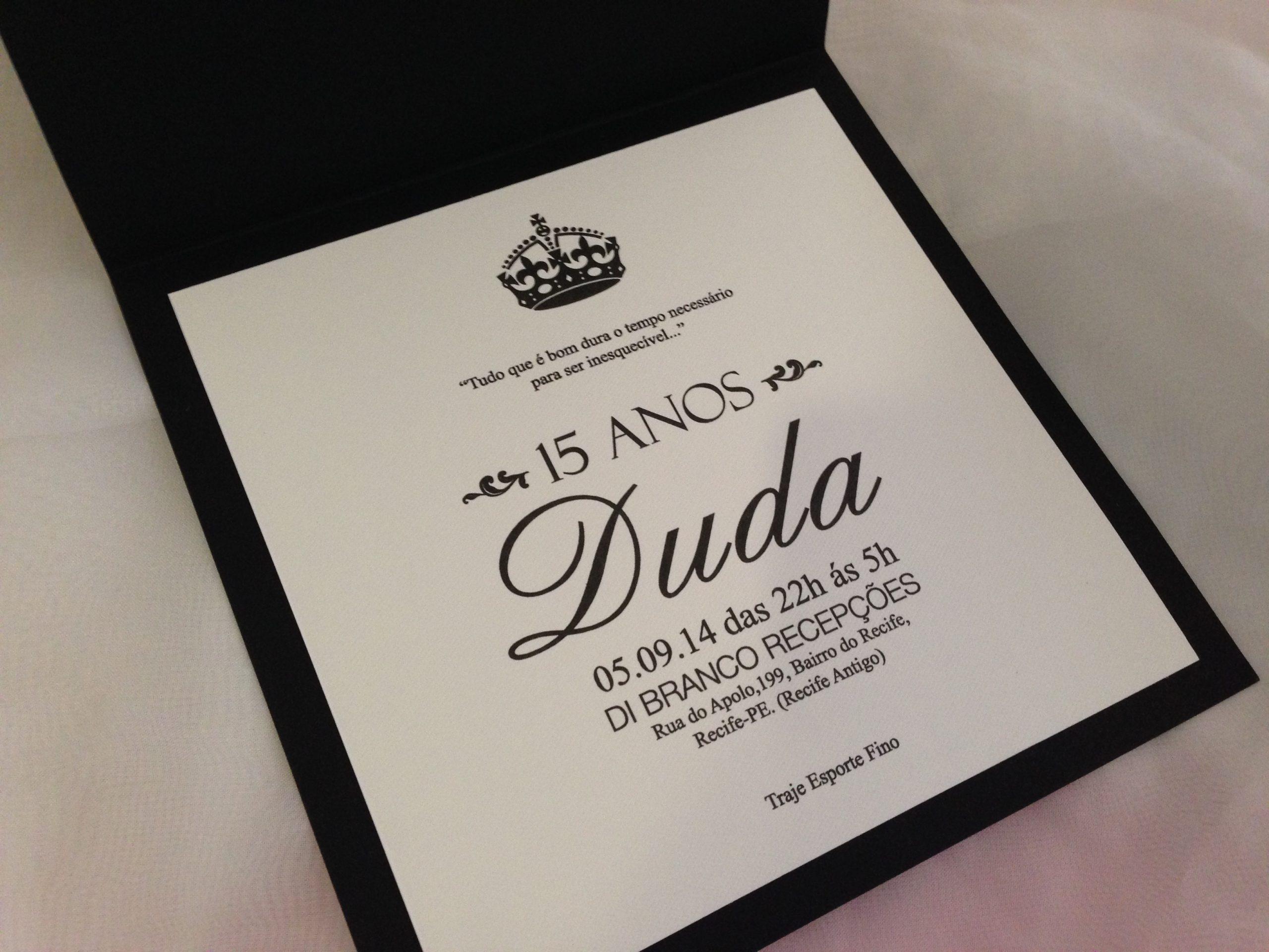 Convite 15 anos Duda -