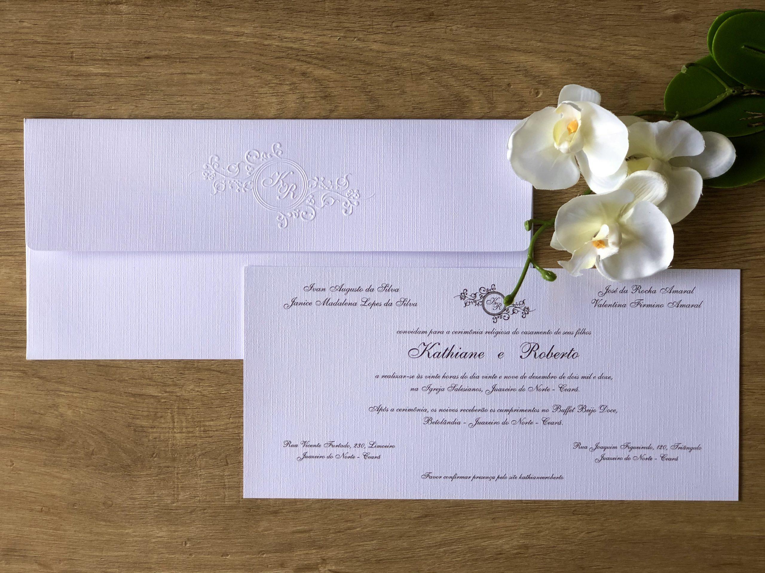 Convite de Kathiane e Roberto -
