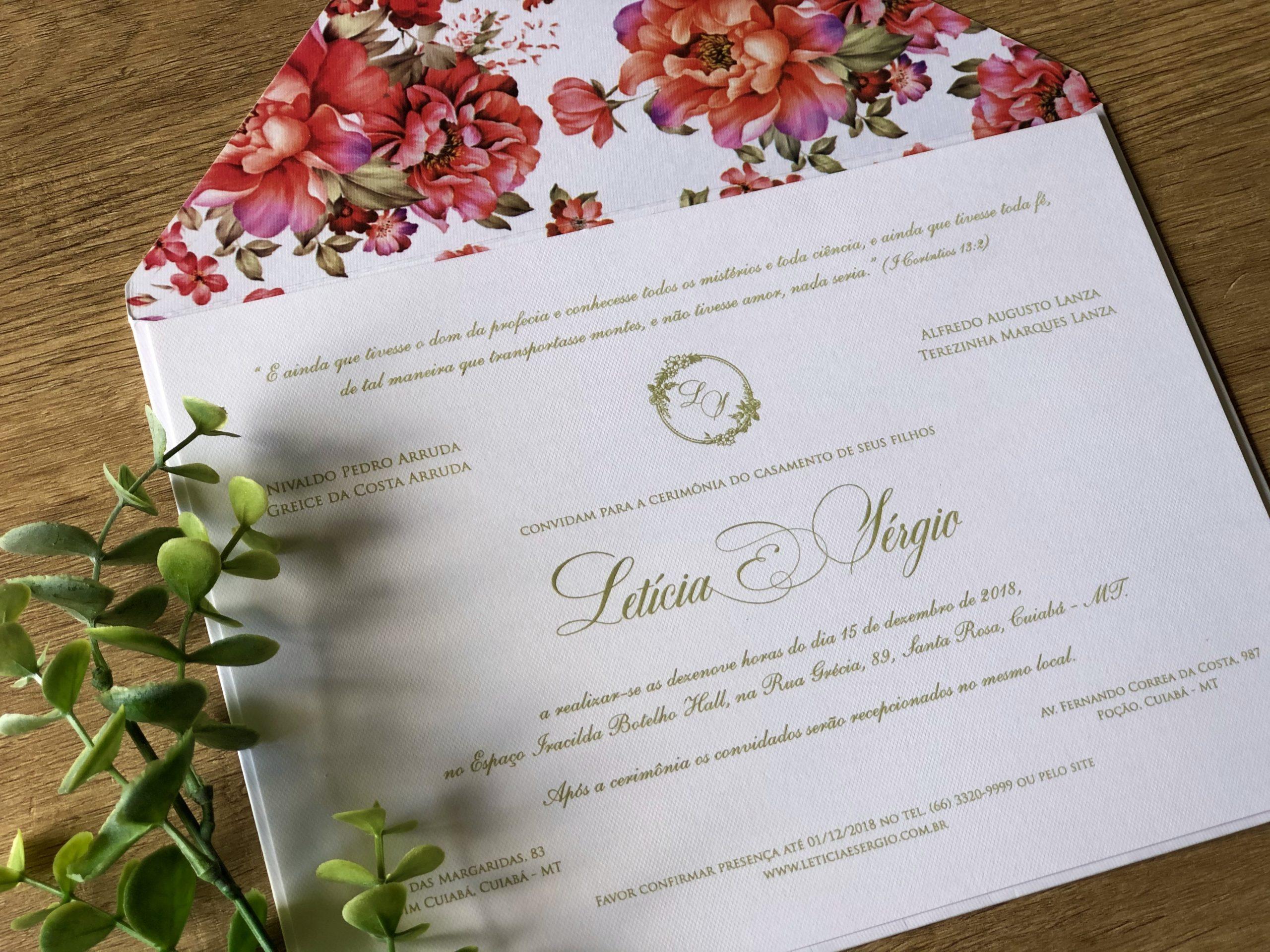 Convite de Leticia e Sergio -