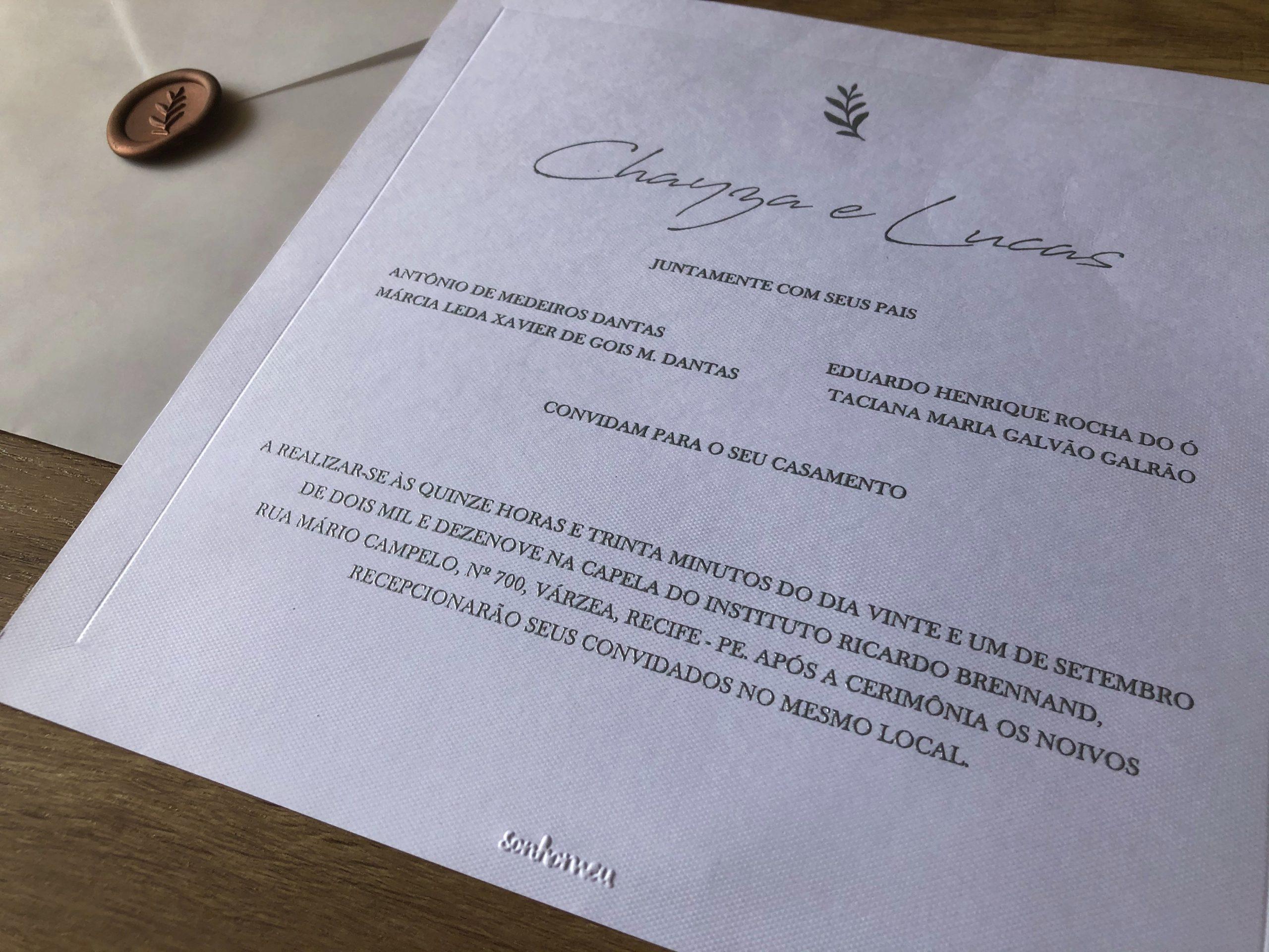 Convite Chayza e Lucas -